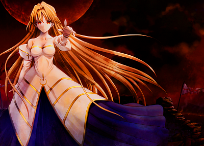 Tsukihime, dress, long hair, Arcueid Brunestud, red eyes, Type-Moon, anime girls, Archetype Earth - related desktop wallpaper
