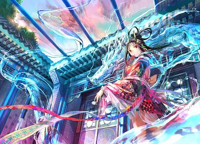 fantasy, dragons, anime, Fuji Choko, soft shading, anime girls, original characters - related desktop wallpaper