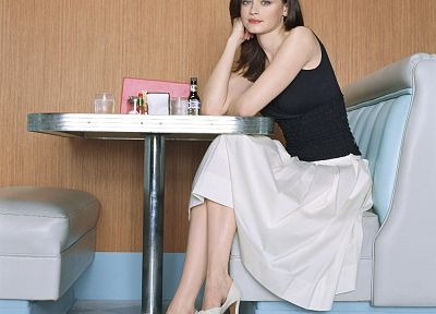 brunettes, women, Alexis Bledel, dress, high heels, pumps - related desktop wallpaper