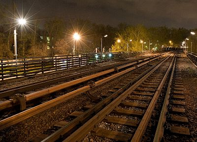 night, metro, subway, railroad tracks, Moscow - random desktop wallpaper