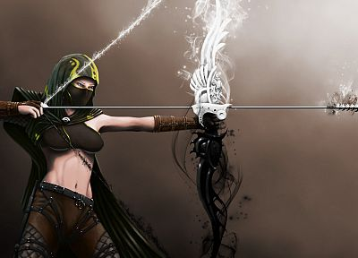 women, archers, fantasy art, artwork, arrows, archery - related desktop wallpaper