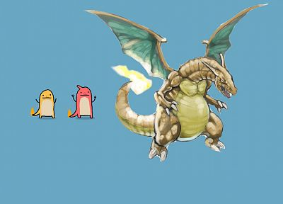 Pokemon, Charmeleon, Charizard, Charmander - desktop wallpaper