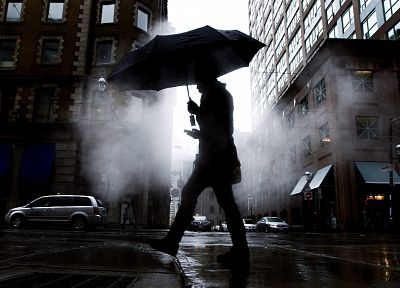 cityscapes, streets, cars, buildings, umbrellas, low-angle shot - desktop wallpaper