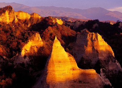 sunset, nature, Melnik Pyramids, Bulgaria - random desktop wallpaper