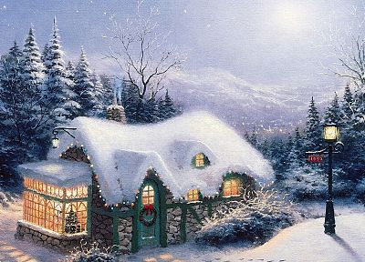 winter, houses, fantasy art - desktop wallpaper