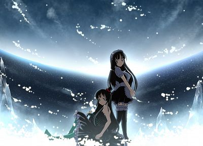snow, K-ON!, maids, Hirasawa Yui, black eyes, Akiyama Mio, black hair, skies - desktop wallpaper