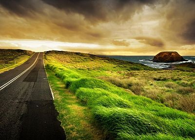 clouds, landscapes, horizon, roads, HDR photography - random desktop wallpaper