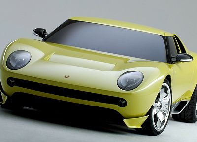 yellow, cars, Lamborghini, vehicles, concept cars, Lamborghini Miura Concept - desktop wallpaper