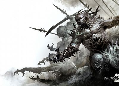 video games, monsters, zombies, fantasy art, battles, monochrome, Guild Wars 2 - related desktop wallpaper