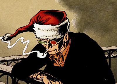 Transmetropolitan, Spider Jerusalem, Santa Claus hat - related desktop wallpaper