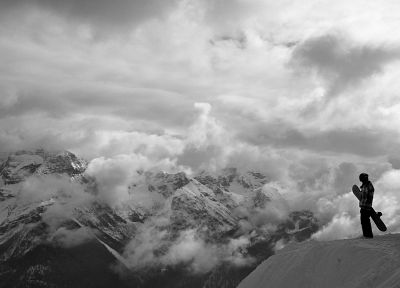 mountains, landscapes, snow, monochrome, snowboarding, greyscale - related desktop wallpaper