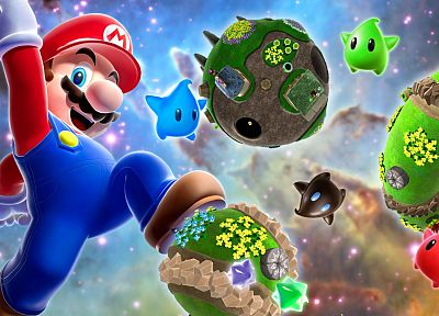 Nintendo, video games, galaxies, Mario, jumping, Super Mario Galaxy, arms raised - related desktop wallpaper