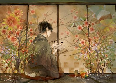 flowers, plants, books, anime, anime boys - random desktop wallpaper
