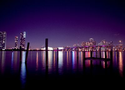 skylines, night, Miami, citylights - related desktop wallpaper