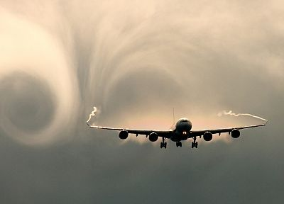 airplanes, Airbus A340, vortex, contrails, skyscapes - random desktop wallpaper