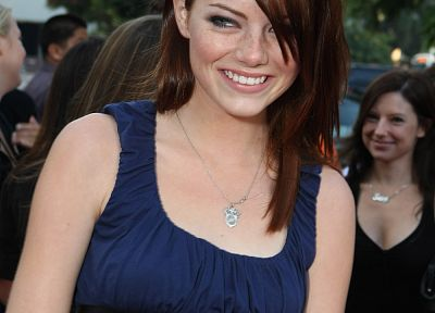 brunettes, women, Emma Stone, smiling, blue dress - random desktop wallpaper