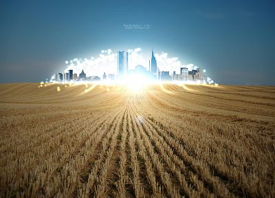 light, nature, cityscapes, fields, wheat, city lights - desktop wallpaper