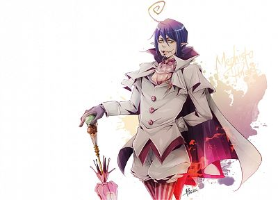 purple hair, anime, anime boys, Ao no Exorcist, umbrellas, Mephisto Pheles - related desktop wallpaper