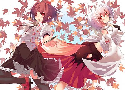 brunettes, Touhou, autumn, leaves, skirts, animal ears, red eyes, short hair, Shameimaru Aya, white hair, Inubashiri Momiji, inumimi, pointy ears, tengu, detached sleeves - related desktop wallpaper