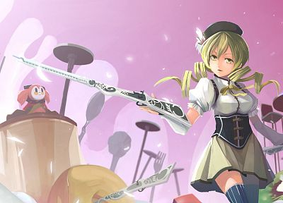 blondes, rifles, guns, gloves, stockings, fruits, food, skirts, long hair, ribbons, corset, kiwi, thigh highs, yellow eyes, Mahou Shoujo Madoka Magica, Tomoe Mami, curly hair, open mouth, anime, forks, golden eyes, soft shading, hats, anime girls, spread  - related desktop wallpaper