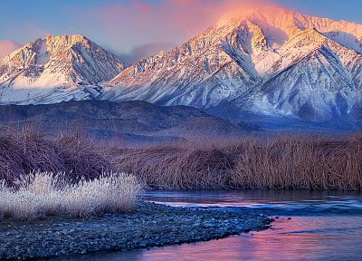 sunset, mountains, landscapes, nature, snow, grass, rivers - related desktop wallpaper