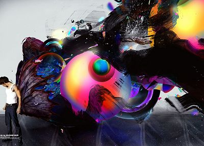 abstract, wings, trees, multicolor, men, artwork, paint splatter - desktop wallpaper
