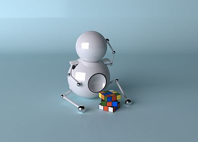 robots, thinking, cubes, Rubiks Cube - random desktop wallpaper