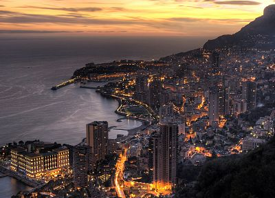 landscapes, coast, cityscapes, architecture, buildings, Monaco, city lights - desktop wallpaper