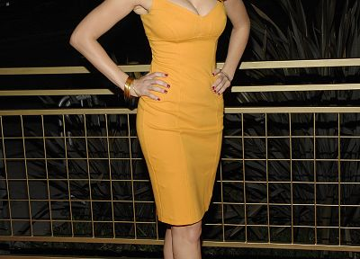 women, Kelly Brook, high heels, yellow dress - random desktop wallpaper