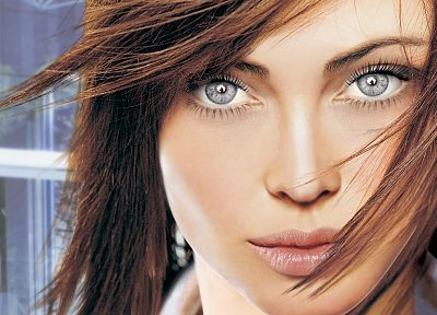 women, close-up, blue eyes, fantasy art, digital art - related desktop wallpaper