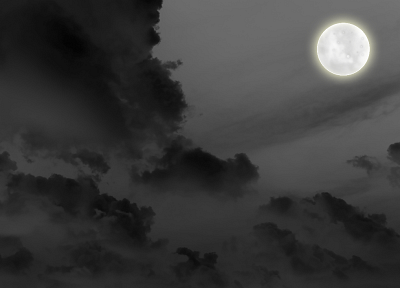 clouds, dark, night, Moon - desktop wallpaper