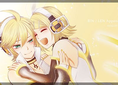 Vocaloid, Kagamine Rin, Kagamine Len, headbands, anime girls, Vocaloid Append, detached sleeves - random desktop wallpaper