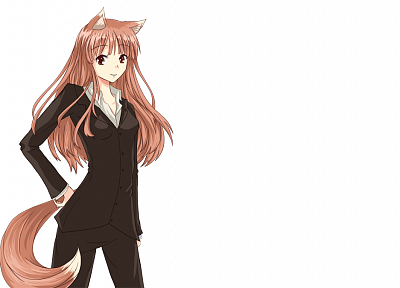 Spice and Wolf, animal ears, Holo The Wise Wolf, simple background, inumimi - related desktop wallpaper