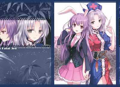 video games, Touhou, dress, school uniforms, tie, bamboo, skirts, long hair, nurses, bunny girls, purple hair, animal ears, syringe, red eyes, Reisen Udongein Inaba, Imperishable Night, smiling, open mouth, braids, gray eyes, white hair, bunny ears, holdi - related desktop wallpaper