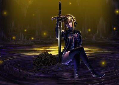 blondes, water, Fate/Stay Night, sparkles, weapons, thigh highs, yellow eyes, sitting, black dress, Saber, braids, hair bun, swords, Saber Alter, Fate series - related desktop wallpaper