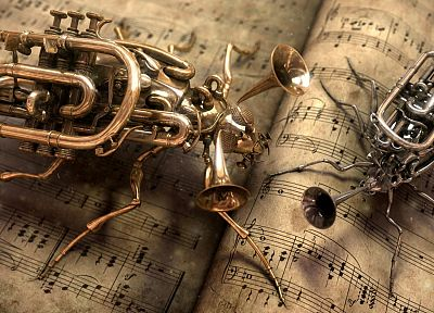 paper, music, steampunk, instruments, bugs - random desktop wallpaper