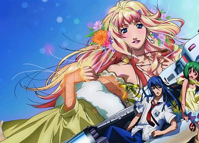 Macross Frontier, anime, Lee Ranka, Saotome Alto, Nome Sheryl - random desktop wallpaper
