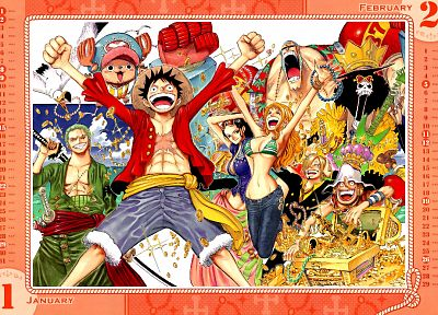 One Piece (anime), calendar, manga, Strawhat pirates, Monkey D Luffy - related desktop wallpaper