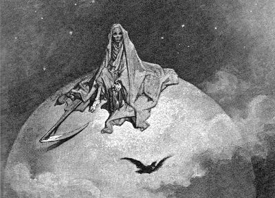 scythe, grayscale, skeletons, The Raven, artwork, Edgar Allan Poe, Gustave  Dore - related desktop wallpaper