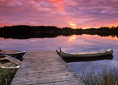 sunset, dock, Sweden, lakes - desktop wallpaper