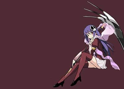 scythe, skirts, long hair, purple hair, The World God Only Knows, anime girls, Haqua du Lot Herminium - desktop wallpaper