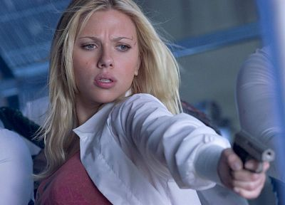 women, Scarlett Johansson, actress, The Island, handguns - random desktop wallpaper