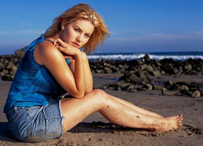 blondes, women, Elisha Cuthbert, sand, actress, barefoot, denim shorts - desktop wallpaper