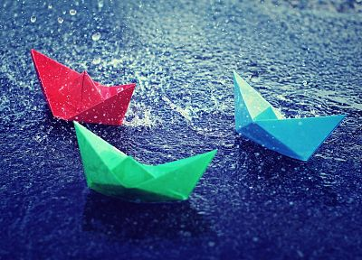 water, still shot, paper boat - desktop wallpaper