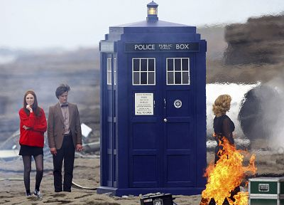 TARDIS, Matt Smith, Karen Gillan, Amy Pond, Eleventh Doctor, Doctor Who - related desktop wallpaper