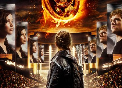 movies, posters, Jennifer Lawrence, Katniss Everdeen, The Hunger Games, Josh Hutcherson, Peeta - random desktop wallpaper