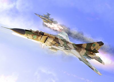 aircraft, artwork, Libya, F-16 Fighting Falcon, MIG-23 - desktop wallpaper