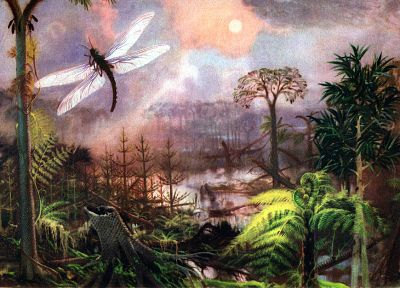 paintings, forests, insects, ferns, prehistoric, Zdenek Burian - related desktop wallpaper