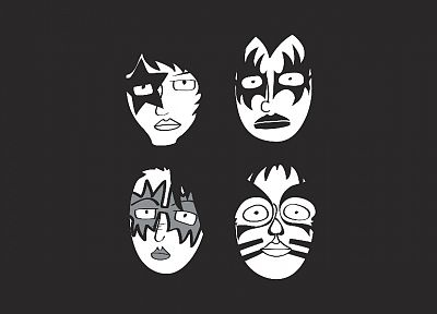grayscale, Kiss music band, music bands, faces - related desktop wallpaper