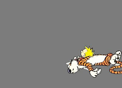 Calvin and Hobbes, sleeping - random desktop wallpaper